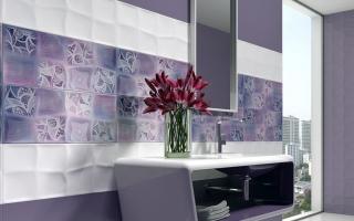 Сиреневая плитка: керамические фиолетовые изделия в интерьере