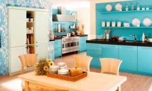 Кухня с голубыми стенами (42 фото): в оранжевых и салатовых, черных и белых, серых и других тонах