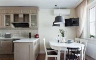 Белый стол Ikea: длинный столик в интерьере кухни