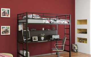 Металлическая кровать-чердак: железная кровать с рабочей зоной, каркас из металла, лестница отдельно