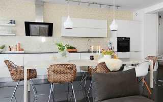 Кухня-гостиная в скандинавском стиле (37 фото): дизайн в интерьере совмещенного помещения