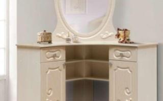 Угловые туалетные столики (30 фото): как подобрать размеры стола для макияжа