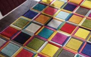 Ковры в стиле «пэчворк»: коврик из лоскутков ткани, лоскутные модели из вискозы с рисунком