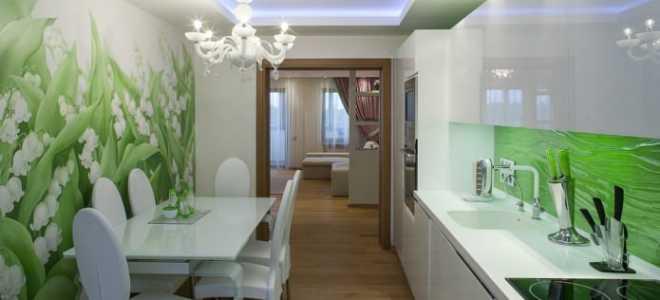 Зеленые обои на кухне (41 фото): дизайн зелено-белых оттенков для стен и штор к кухонному гарнитуру