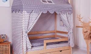 Детская кровать-домик (87 фото): кроватка для детей 2-3 лет в виде чердака для двоих