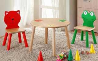 Детский круглый стол: пластиковый и деревянный закругленный столик в комнату