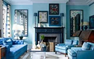 Голубая гостиная (37 фото): дизайн интерьера комнаты в голубых оттенках, сочетания коричневого и белого цветов