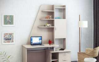 Стол со стеллажом: угловые модели с откидным и выдвижным встроенным столом в стиле техно