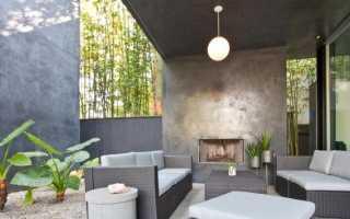Бетонный камин: открытый камин из бетона для улицы
