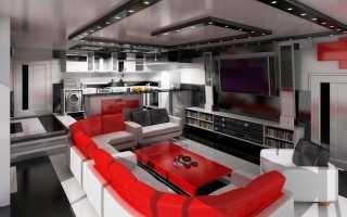Кухня гостиная в стиле «хай-тек» (25 фото): особенности дизайна интерьера