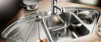 Угловые мойки из нержавейки для кухни (39 фото): кухонные раковины с 2 чашами из нержавеющей стали
