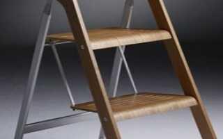 Стул-стремянка: деревянная лестница и складной алюминиевый стульчик-трансформер