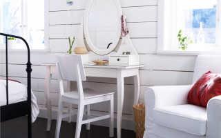 Туалетные столики Ikea (38 фото): белый стол для спальни с подсветкой и зеркалом